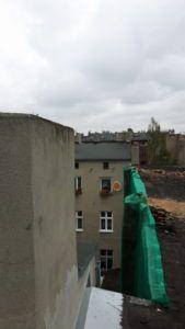 demontaż komina na kamienicy Łódź
